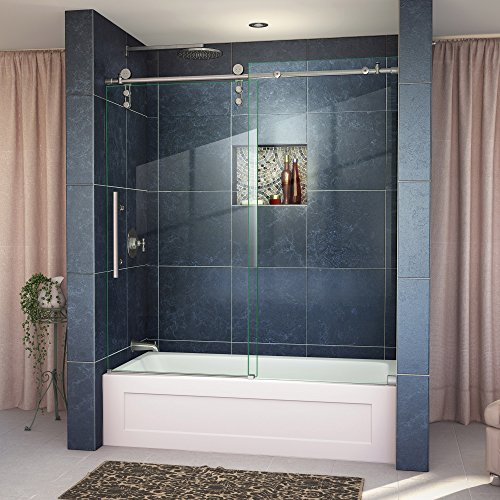 DreamLine Enigma-Z 55-59 in. W x 62 in. H Fully Frameless Sliding Tub Door in Brushed Stainless Steel, SHDR-6260620-07 ()