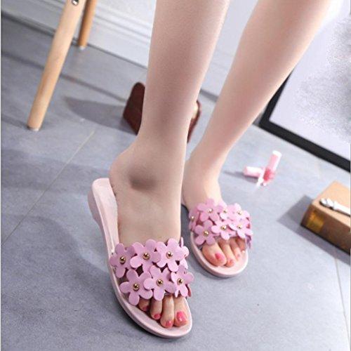 Binmer(TM) Summer Women Beach Shoes Flower Flat Sandals Slip Resistant Slippers Sandal Pink 5sMDC4