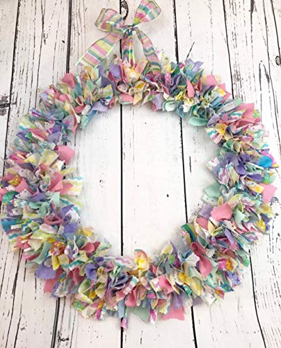 (Pastel Easter rag tie wreath)