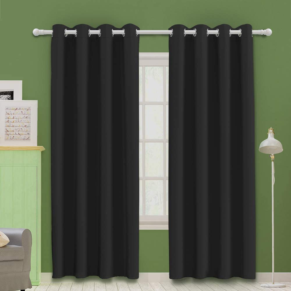 Mooore Black Bedroom Blackout Curtains Eyelet Ring Top Thermal Insulated Soft Window Darkening Panel For Kitchen Living Room Boy Room Decoration 46 X 54 Inch Drop Black 2 Panels Amazon Co Uk
