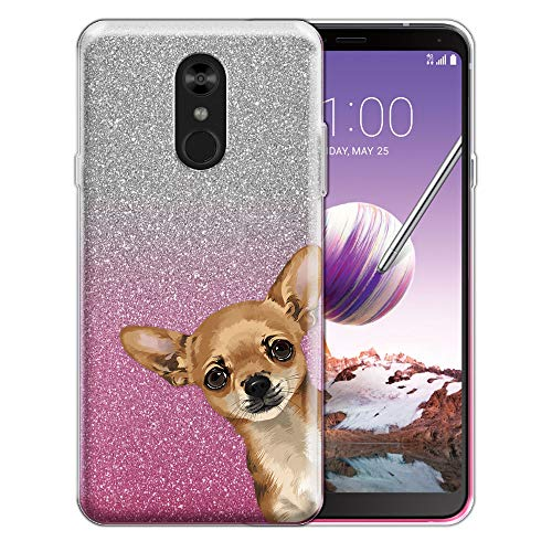FINCIBO Case Compatible with LG Stylo 4, Shiny Sparkling Silver Pink Gradient 2 Tone Glitter TPU Protector Cover Case for LG Stylo 4 - Fawn Apple Head Chihuahua Look for You