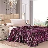 Jungla Animal Print Ultra Soft Pink Zebra King Size Microplush Blanket