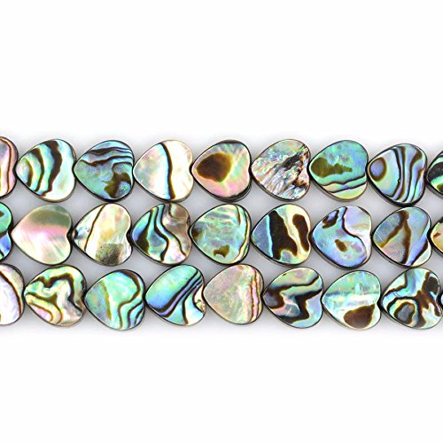 """Natural 8mm Abalone Shell Flat Heart Beads Strand 16"""" for sale  Delivered anywhere in USA"""