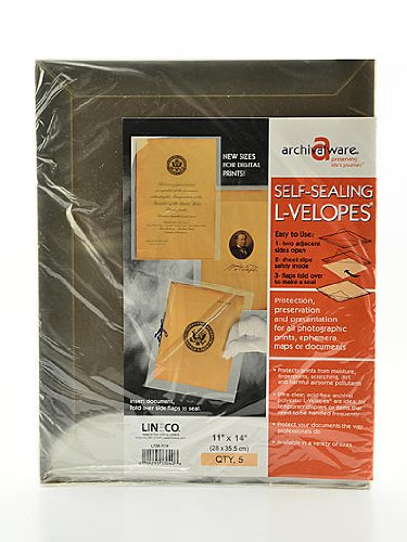 Lineco Self-Sealing L-Velopes 11 in. x 14 in. Clear Document Envelopes by Lineco