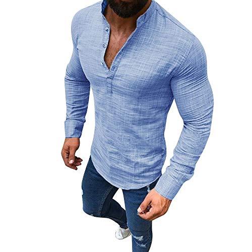 (Men's Linen Business Long-Sleeved V-Neck Shirt Casual Solid Color Half Open Button Top Light Blue)