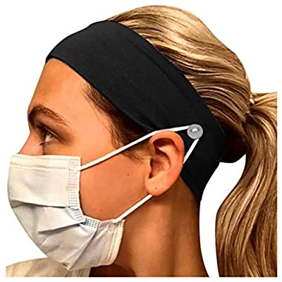 Button Headband for Nurses Women Men, Ulanda 1/5PCS Yoga Sports Workout Running Soft Elastic Stretch Headbands for Doctors: Clothing