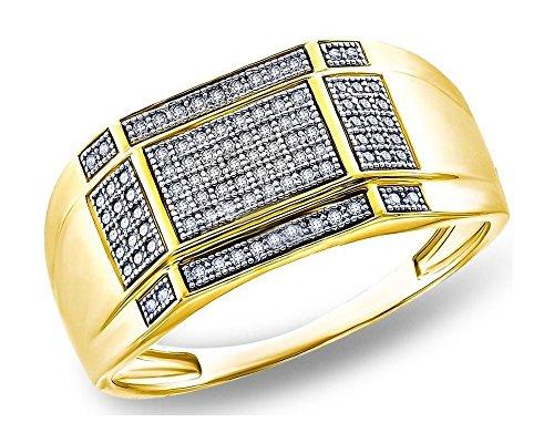 Men's 0.33 CTW Diamond Micro Pave 14k Yellow Gold Finish Wedding Band, Size 10