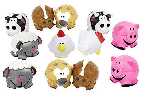 Black Duck Brand Set of 12 Assorted Farm Themed Mini Stress Balls Squeeze Foam for Anxiety Relief, Relaxation, Party Favor Toy, or Gifts!