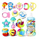 ROWAG 16 Pieces Baby Rattles and Teethers with Gift Bottle Educational Infants Coin Bank Playset Toys