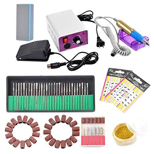 Complete Professional Finger Toe Nail Care Manicure Pedicure Set w/30 Electric Nail File Drill Bits, 6 Optional Bits/Filing Heads, Sanding Bands