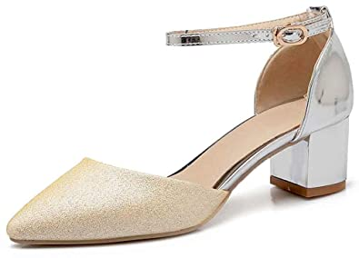 dff7a18088d Aisun Women s Pointed Toe Sandals - Ankle Strap Middle Block Heels - Buckled  Bling Sequined (