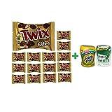 Twix Bites Unwrapped Sharing Size - 2.83 Oz (15 PACK)+ Fruity Chews Gum Watermelon 1/60 Count + Trident Go Cup Spearmint 1/60 Count (BUNDLE)