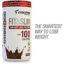 Whey Isolate Protein Powder and Fat Burner Grass Fed FIT & SLIM by EVOLUTION - ONLY 100 CALORIES per Serving - Whey Protein+Fiber+Glucomanan+Chromium Picolinate. 2lbs 30 servings. Stevia (Chocolate)