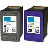 HouseOfToners Remanufactured Ink Cartridge Replacement for HP 27 & 28 (1 Black & 1 Color, 2-Pack)