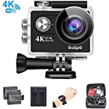 GeckoG Action Camera 4K 16MP Sport WiFi Waterproof Action Camcorder With 170°Wide Angle Lens 2 Inch LCD Screen+Remote Control+ 2 Rechargeable Batteries + USB Dual battery Charger + Free Travel Bag In