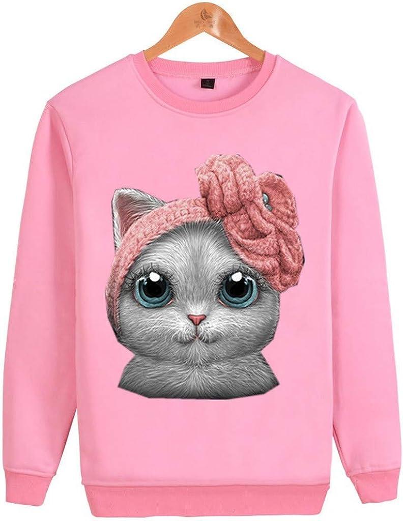 YANYUN Sweatshirt for Women,Women Shirt Long Sleeve Casual O-Neck Cat Print Pullover Tops Blouse