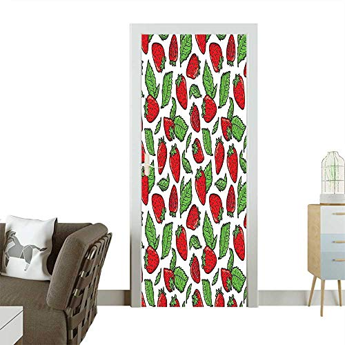 Art Door Stickers Strawberries with Leaves Yummy Food Organic Charming Sweets Graphic Design Red Fern Green Door Decals for Home Room DecorationW38.5 x H77 INCH