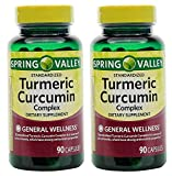 Spring Valley Stndr Turmeric Curcumin Complex Dietary Supplement Capsules, 500 mg, 90 Count Bottle, 2 Pack
