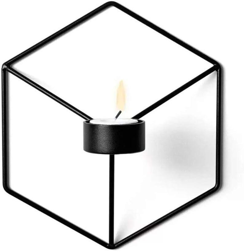 black Refaxi Menu POV Wall Candle Holder Tea Light Holder Iron Metal Candlestick Home Decor