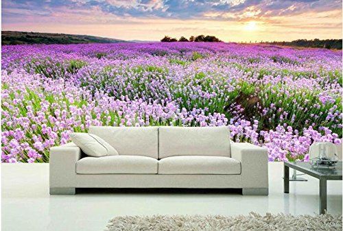 Lwcx 3D Wallpaper Custom Mural Non-Woven 3D Room Wall Paper Sticker Lavender Garden Sunset Paintings Photo 3D Wall Murals Wallpaper 150X105CM Garden Spot Wallpaper