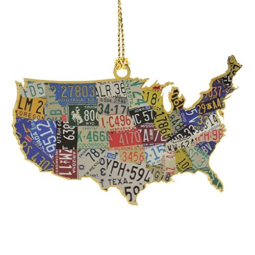 USA License Plate Map Ornament (Map Plate)