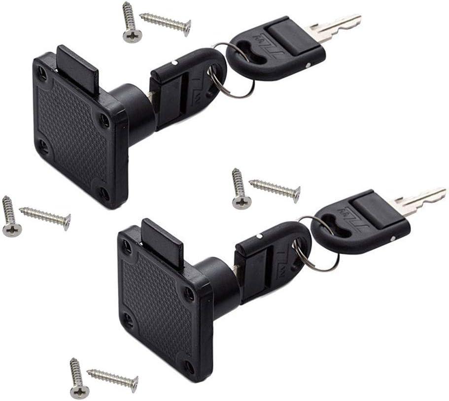 2 Pack/Sets Drawer Lock Furniture Cabinet Door Lock Wardrobe File Cabinet Square Tongue Lock with Separate Key (Black)