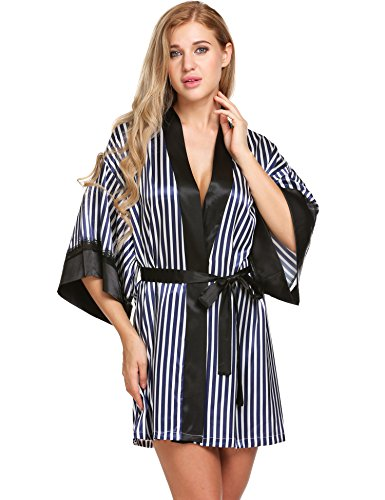 Trim Short Kimono Robe Seafolly Stripe Printed Sleepwear Nightgown Champlain Color X-Large (Stripe Kimono Robe)