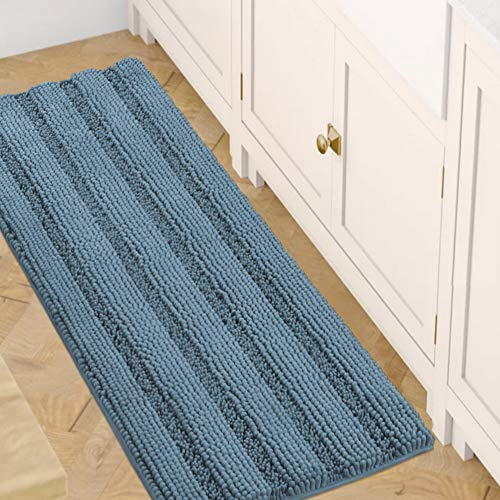 Bath Rugs for Bathroom Washable Non Slip Extra Thick Chenille Striped Bath Mat Rug Runners 47″ x 17″ Absorbent Fluffy Soft Shaggy Mats Dry Fast Plush Area Carpet for Bath Room, Tub – Stone Blue