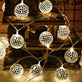 H+K+L String Lights Moroccan Ball 10/20LED Globe Battery Operated Fairy String Orb Lantern Patio (White, 1.5m/10led)