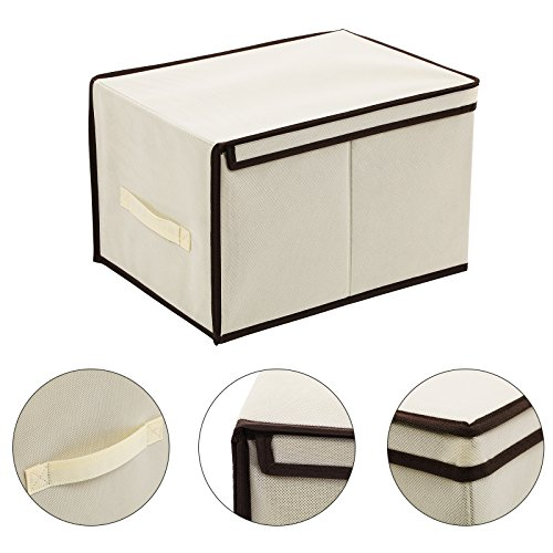 SONGMICS Set of 3 Large Storage Container with Lids Foldable Storage Box with Lids Beige URLB40M by SONGMICS (Image #7)