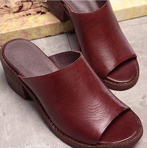 Laruise Women's Leather Sandal Claret PrljdhZX