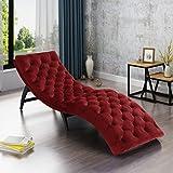 Grasby Tufted Garnet Velvet Chaise Lounge For Sale