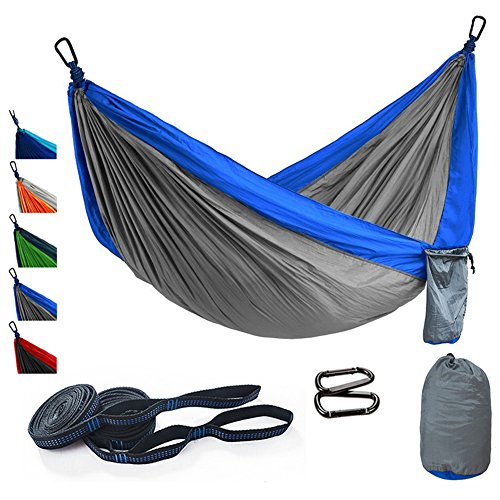 Camping Hammock Portable Lightweight Parachute Single & Double Outdoor Premium Hammock with Tree Straps Up 650 lbs, Multifunctional Hammocks for Backpacking, Hiking, Travel, Beach, Yard