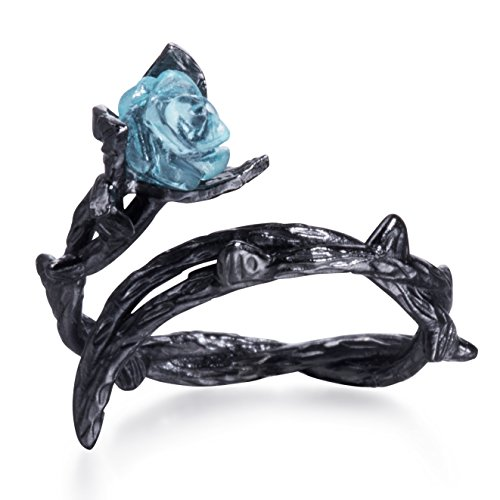 Blue Rose Ring Black Thorns Flower Ring Sterling Silver