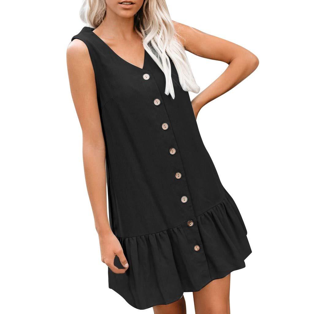 Womens Fashion V Neck Sleevele Button Pockets Pure Color Loose Summer Mini Dress Black by HJuyYuah