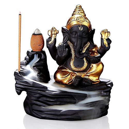 OTOFY Handmade Ceramic Incense Holder, Backflow Incense Burner Figurine Incense Cone Holders Home Decor Gift Decorations Statue Ornaments (Ganesha)