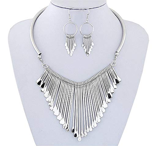 Juland Statement Bib Necklace with Metal Fringe Drop Choker Necklace Earrings Set Fashion Bohemian Punk Ethnic Style for Women and Girls - Silver