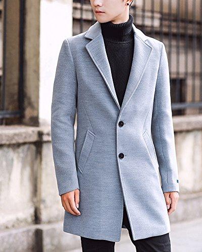 Inverno Cappotto Grigio Trench Uomo Lana Manica Collare Finto Caloroso Sottile Classico Lunga Di Giacche Coat I86x6wF