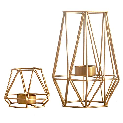 Metal Tall Candle Holder - Sfeexun Set of 2 Metal Hexagon Shaped Geometric Design Tea Light Votive Candle Holders-Iron Hollow Tealight Candle Holders for Vintage Wedding Home Decoration, Gold (S + L)