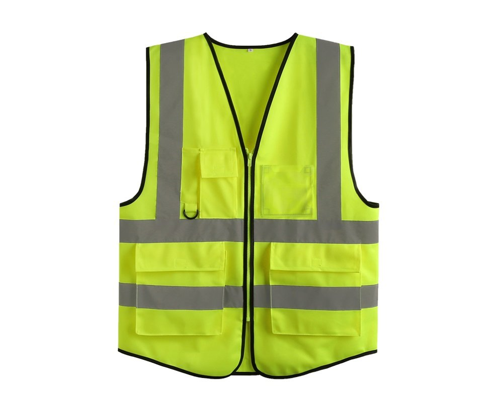 Lantra Besa Women Men Safety Vest Hi Vis Jacket for Sport Cycling and Jogging Zip Up Multiple Pockets High Visibility Fluorescent Yellow AR0013 - M