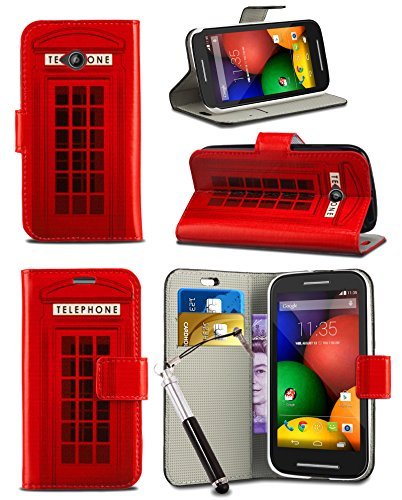 London Gadget Store For Alcatel One Touch Pixi 4 (6.0 Inch) 4G Dual SIM / 9001D -Wallet Case Cover Printed Design With Integrated Stand & Retractable Stylus Pen - Red Telephone Booth Box