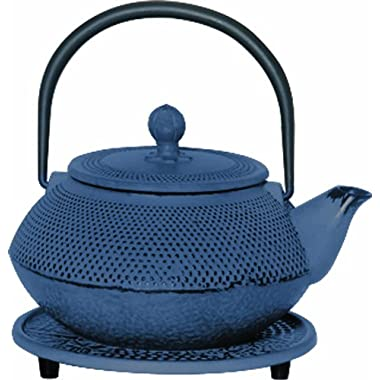 G&H Tea Services Miyazaki Japanese Tetsubin 20-Ounce Teapot and Trivet, Blue