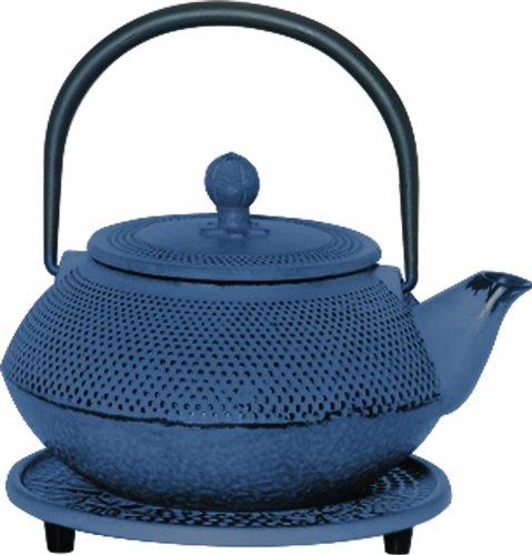 Japanese tetsubin 20 ounce blue cast iron teapot trivet infuser tea maker kettle ebay - Japanese teapot with infuser ...