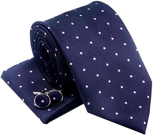 Retro Square Dots Woven Men's Tie Necktie w/ Pocket Square & Cufflinks Gift Set
