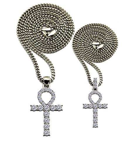 (Shiny Jewelers USA Mens Hip HOP Silver ICED Out Micro Double ANKH Cross Pendant Cuban Rope Box Chain Necklace Set (Silver Cuban Chain 20
