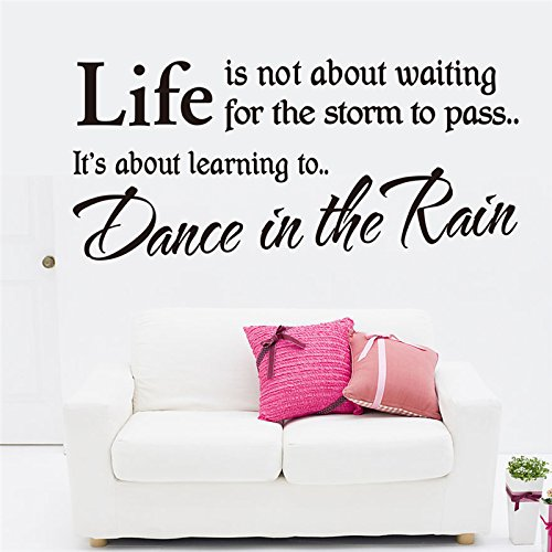 trfhjh Quotes Wall Sticker Home Art Life is Learning to Dance in The Rain Quote Wall Stickers Living Room Indoor Wall Art Decor Vinyl Removable StickersFor Bedroom Living Room Kids Room by trfhjh