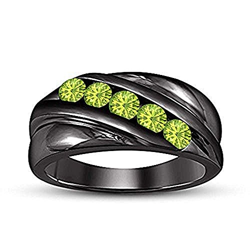 - tusakha Round Cut Created Peridot 14k Black Gold Plated Five Stone Men's Wedding Band Anniversary Ring (10)