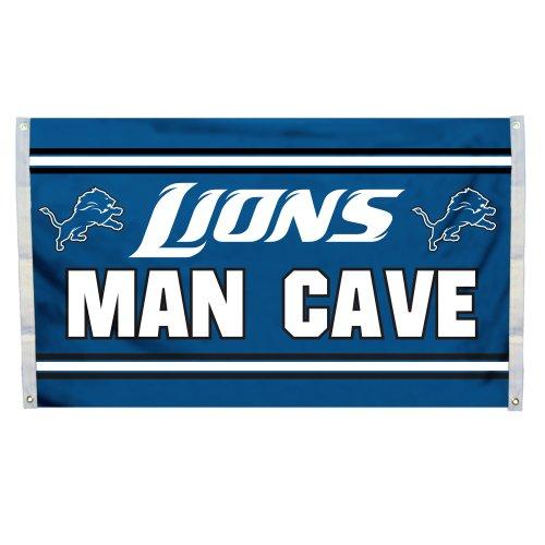 NFL Detroit Lions Man Cave Flag with 4 Grommets, 3 x 5-Feet ()
