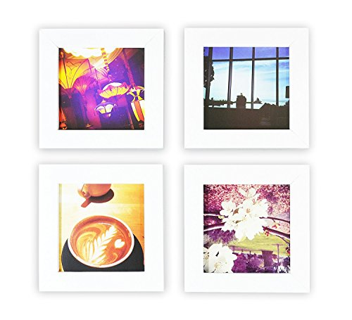 Golden State Art, Smartphone Instagram Frames Collection, Set of 4, 4x4-inch Square Photo Wood Frames, - Frame Square White