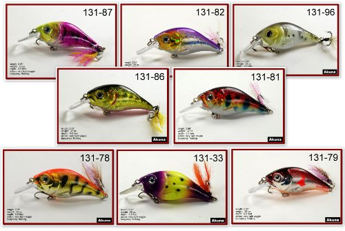 Akuna Pack of 8 Glittertail Series 3 inch Shallow Diving Fishing Lure [BP-8-FLA-131-Y]